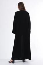 Moistreet Black Coat Style Abaya with White Button Detail (MOIS3036)