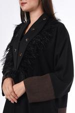 Moistreet Black & Brown Colorblocked Abaya (MOIS3045)