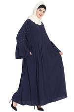 Nazneen Navy Blue Pleated Embellished Abaya (NHF146)