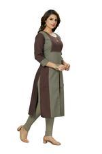 Suumaya Grey & Brown Colorblocked Kurta (P2N-002)