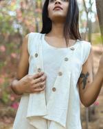 Sugandh Off-White Supper Dress & Jacket Set (wos-525)