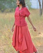 Sugandh Red Cowl Inner Dress & Jacket Set (wos-603)