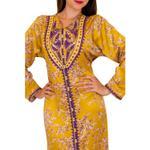 Unique Designer Mustard Yellow & Purple Printed Moroccan Kaftan (12345612131)
