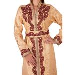 Unique Designer Beige & Gold Moroccan Brocade Kaftan with Belt (12345612138)