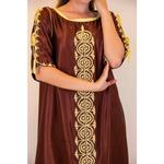 Laila Fashion by Unique Designer Brown Moroccan Satin Silk Kaftan (123456784)