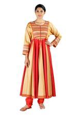 Latha Puttanna Red & Orange Silk Kurta Set (SS18-19)