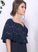 Mandira Wirk Navy Blue Cape Gown (MW/CF-008)