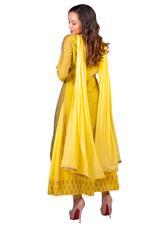 Imara Lime Green & Yellow Layered Kurta Set (A18NORCKD953A)