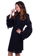 Elvi Black Flora Full-Sleeved Mini Shift Dress (AW18/02/DS50)