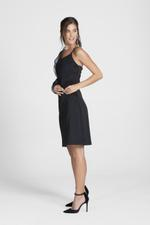 OwnTheLooks Black Sheer Sleeve One-Shoulder Dress (336C)