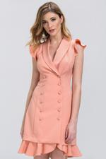 OwnTheLooks Peach Double Button Ruffled Hem Dress (415A)