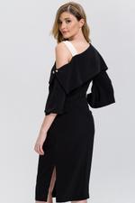 OwnTheLooks Black Asymmetric Pearl Pin Dress (607A)