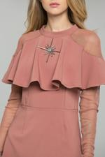 OwnTheLooks Pink Capelet Collar Dress (658B)