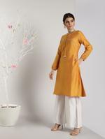 Abhishti Orange A-Line Kurta (ABI-1459)
