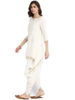 Abhishti White Asymmetric Kurta with Dhoti Pants (ABI-ST190)