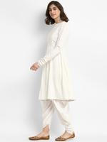 Abhishti White Flared Kurta with Dhoti Pants (ABI-ST195)
