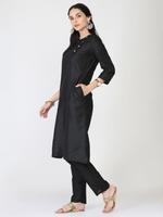 Abhishti Black A-Line Kurta & Pants Set (ABI-ST307)