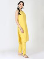 Abhishti Yellow Banarasi Cotton Silk Kurta & Pants Set (ABI-ST312)
