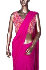 Arpita Mehta Pink Pre-Stitched Ruffle Saree with Blouse (AMV19AMF3568) by Vesimi