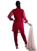 Agha Noor Red & Beige Embellished Kurta Set (ANSS'19-02)