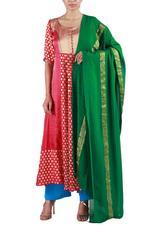Latha Puttanna Red & Green Kurta with Pants & Dupatta