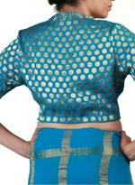 Latha Puttanna Blue Checked Saree with Stitched Blouse