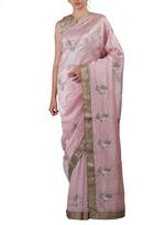 Latha Puttanna Pink Embroidered Saree with Stitched Blouse