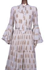 Bhumika Sharma Ivory Printed Tiered & Gathered Maxi Dress (BS-SS19-102) by Vesimi