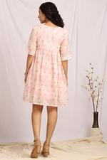 Cocktail House Pink Embroidered Knee Length Gathered Dress (CH0301)