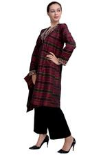 Escale Maroon & Black Embellished Striped Kurta with Pants (DC005M Set)