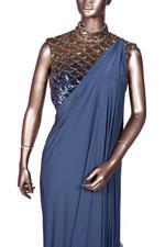 Diya Rajvvir Grey Pre-Stitched Saree with Embellished Blouse (DR-W19-ATI-19) by Vesimi