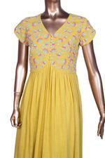 Summer by Priyanka Gupta Mustard Yellow Embroidered Tiered Anarkali Kurta (MA1912) by Vesimi