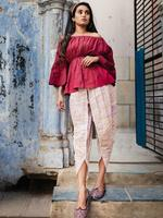 Mesmora Maroon Off-Shoulder Top & Off-White Tulip Pants (#MF1303)