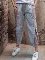 Mesmora White Top & Blue C-Cut-Out Pants Set (#MF1305)