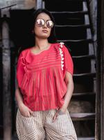Mesmora Red Top & Light Brown Striped 3/4th Pants (#MF1311)