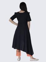Mesmora Black & Peach Asymmetric Khadi Embroidered Kurta & Pant Set
