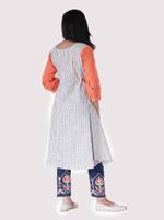 Mesmora Peach & Off-White Embroidered & Striped Kurta & Pants Set (#MF1405)