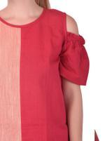 Mesmora Red & Peach Colorblocked Top & Sharara Set (#MF3007)