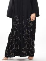 Moistreet Black Floral Embroidered Abaya with Sheila (MOIA2052)