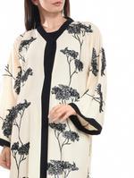 Moistreet Beige & Black Embroidered Abaya with Sheila (MOIA2056)