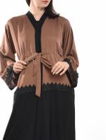 Moistreet Brown & Black Colorblocked Belted Abaya with Sheila (MOIA2063)
