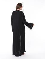 Moistreet Black Hand Embroidered Abaya (MOIS3089)