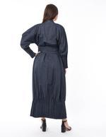 Moistreet Black Denim Abaya with Belt (MOIS3135)