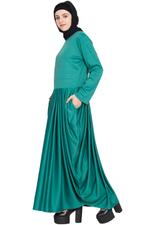 Nazneen Green Pleated Knit Abaya (NHF139)