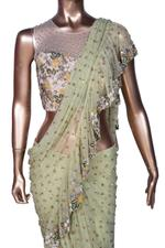 Arpita Mehta Mint Green Embroidered Pre-Stitched Ruffle Saree with Blouse (SAIAMV19AMS2163) by Vesimi