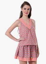 LoveGen Coral Pink Printed Dress (SH3)