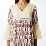 Pink Lemon Yellow & White Printed & Striped Gathered Dress (SS18-04)