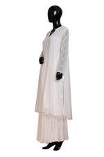 Shivani Tijori White Mirror Embellished Kurta, Sharara & Dupatta Set (ST 2705) by Zene