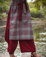 Sugandh Red & Grey Checked Kurta & Palazzo Set (wos-523)