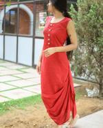 Sugandh Red & Beige Brick Striped 2-Piece Dress & Jacket Set (wos-535)